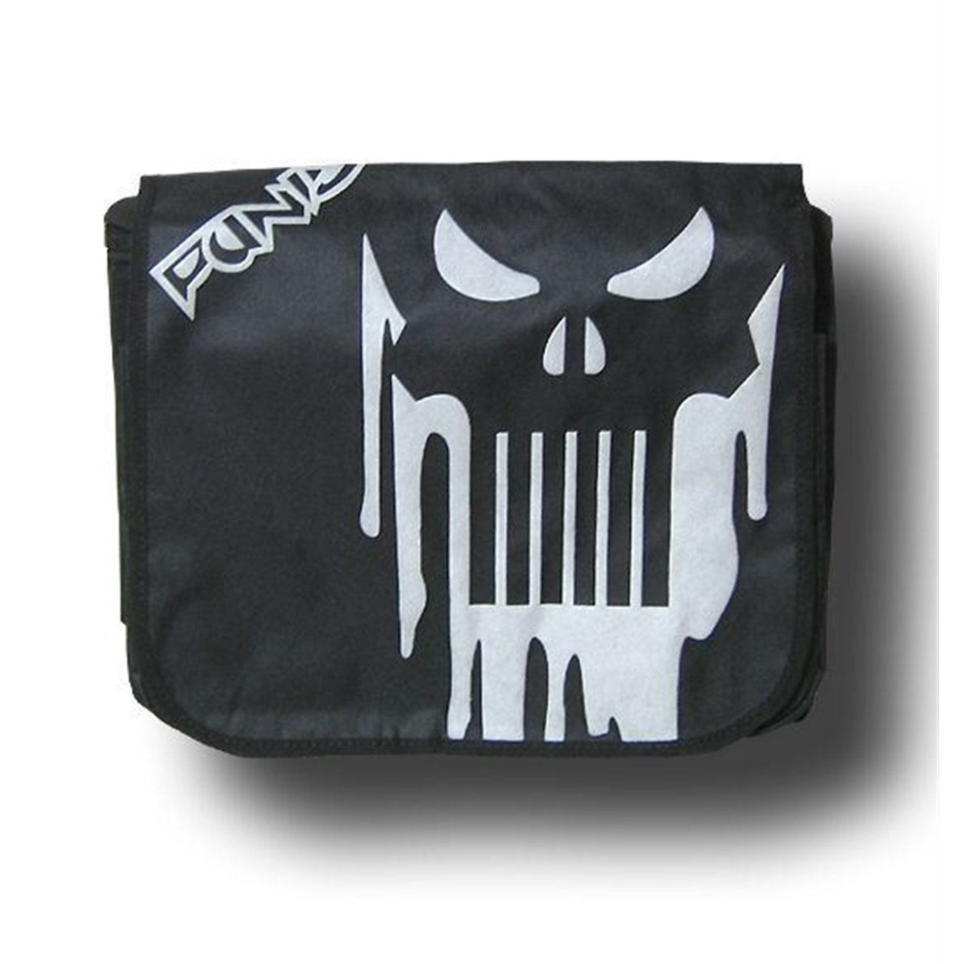 Punisher Black  and Silver Skull Messenger Bag