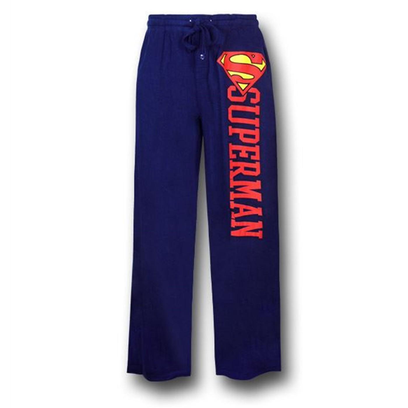 Superman Side Logo and Symbol Blue Sleep Pants