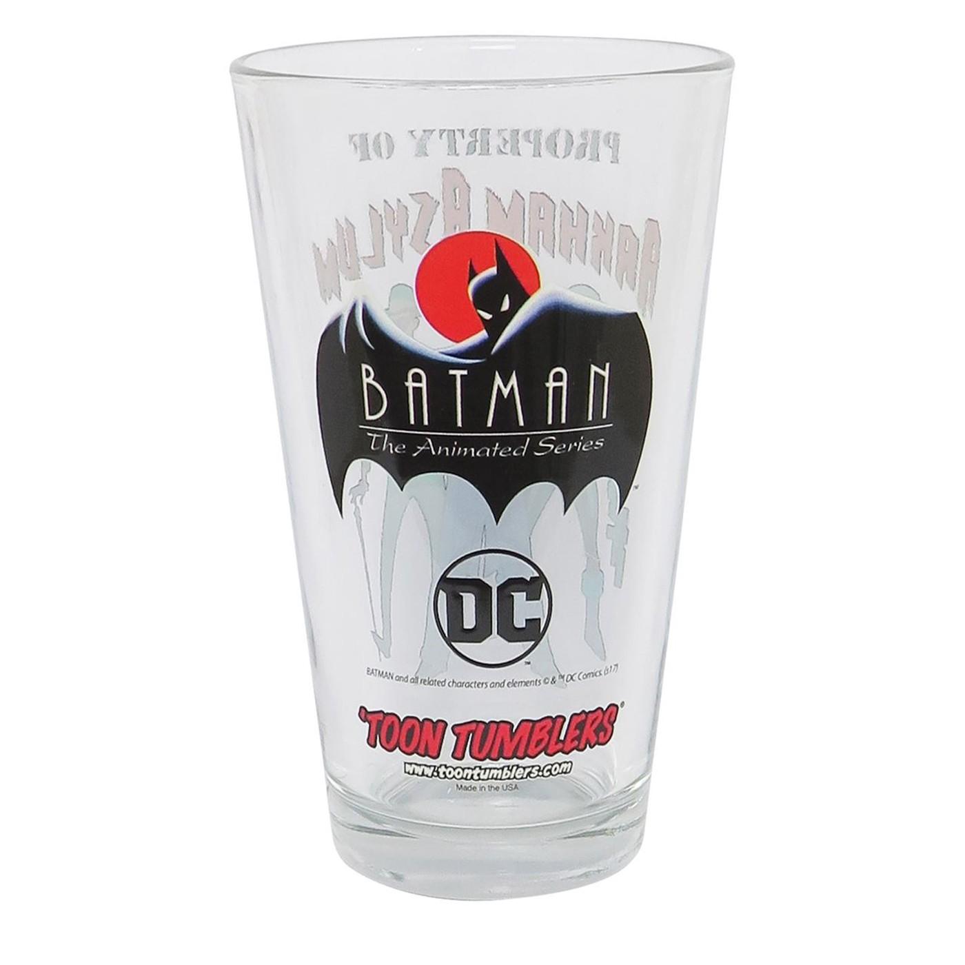 Batman Animated Property of Arkham Asylum Pint Glass
