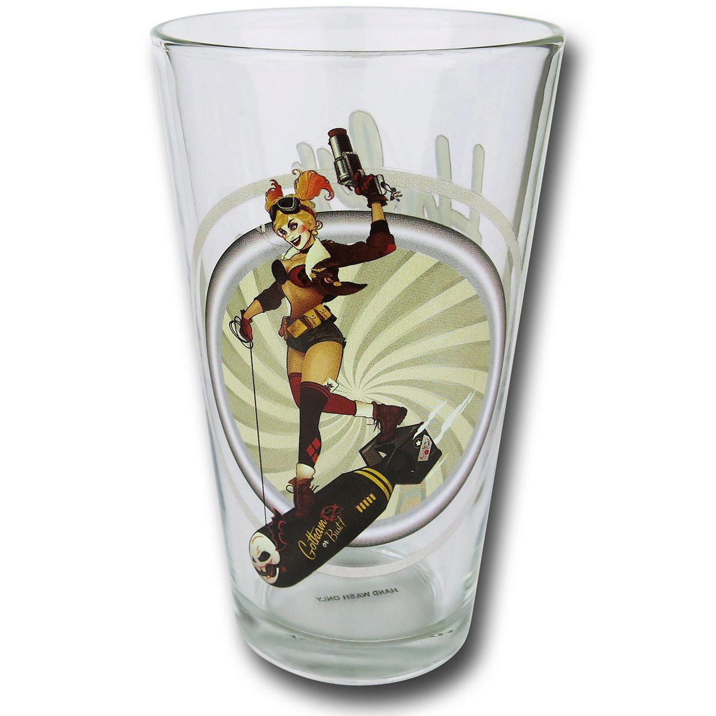 Harley Quinn Bombshells Pint Glass