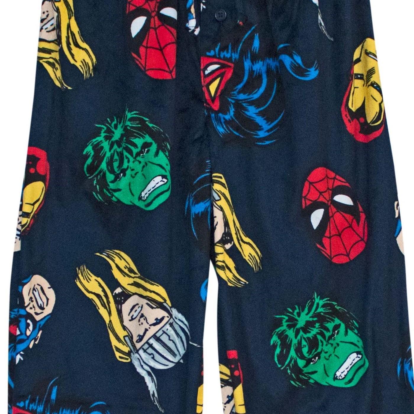 Avengers Classic Heads Up Men's Fleece Pajama Pants