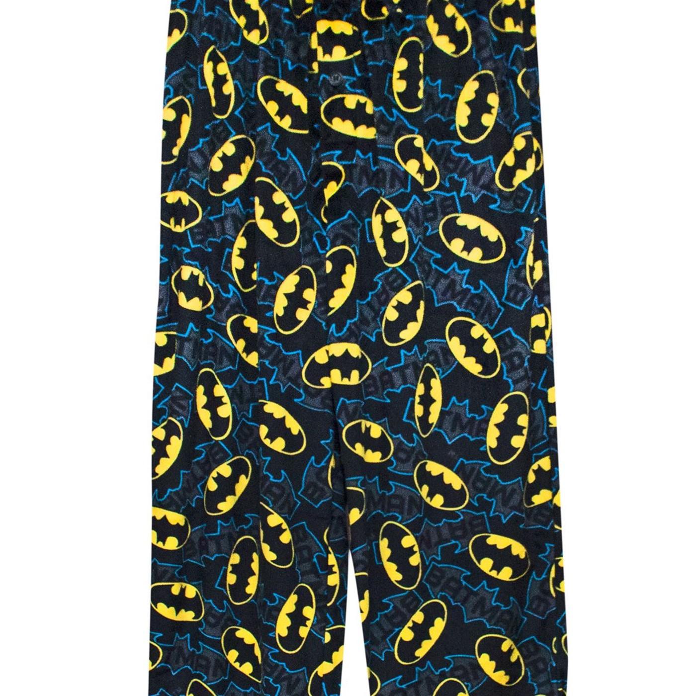 Batman Logo Tech Men's Fleece Plush Pajama Pants
