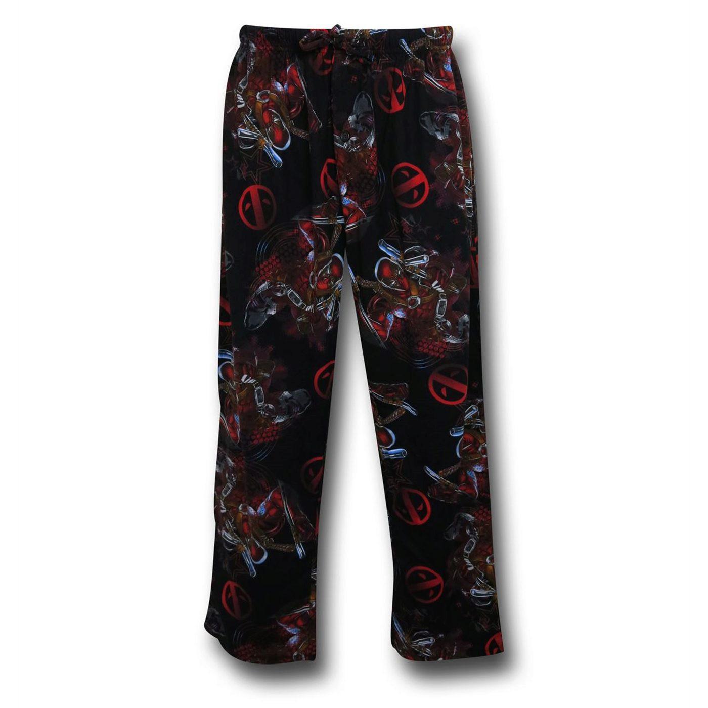 Deadpool All Over Symbol Men's Pajama Pants