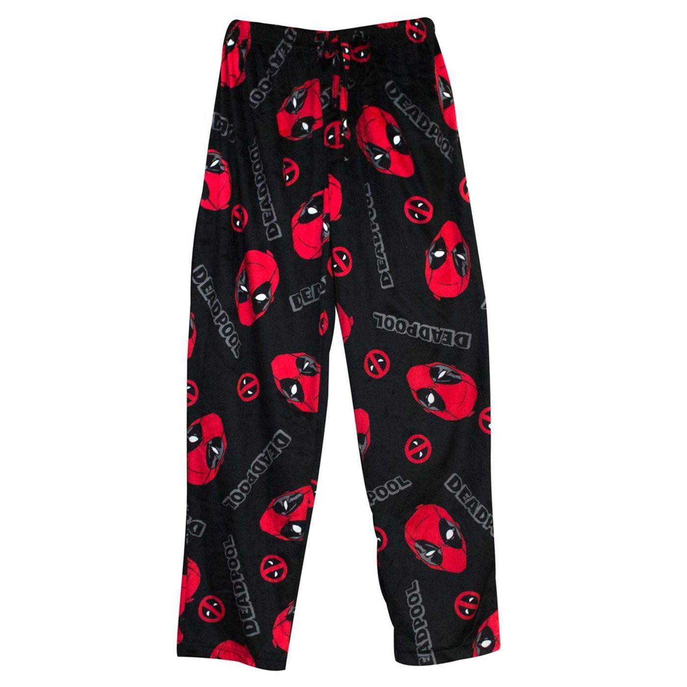 Deadpool Slash & Holes Men's Fleece Pajama Pants