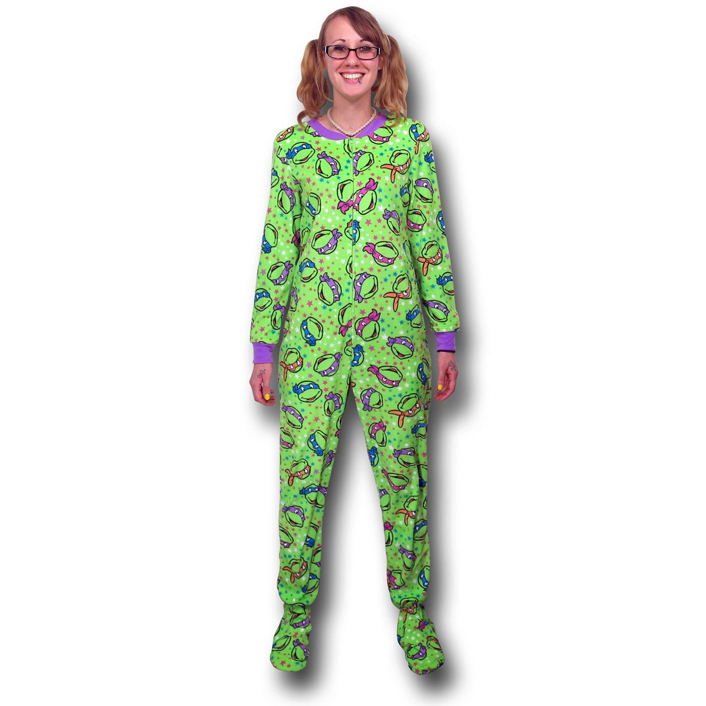 TMNT Faces Women's Footed Pajamas