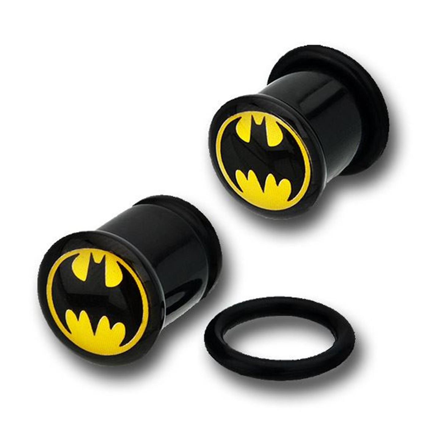 Batman Black Acrylic Single Flare Plugs