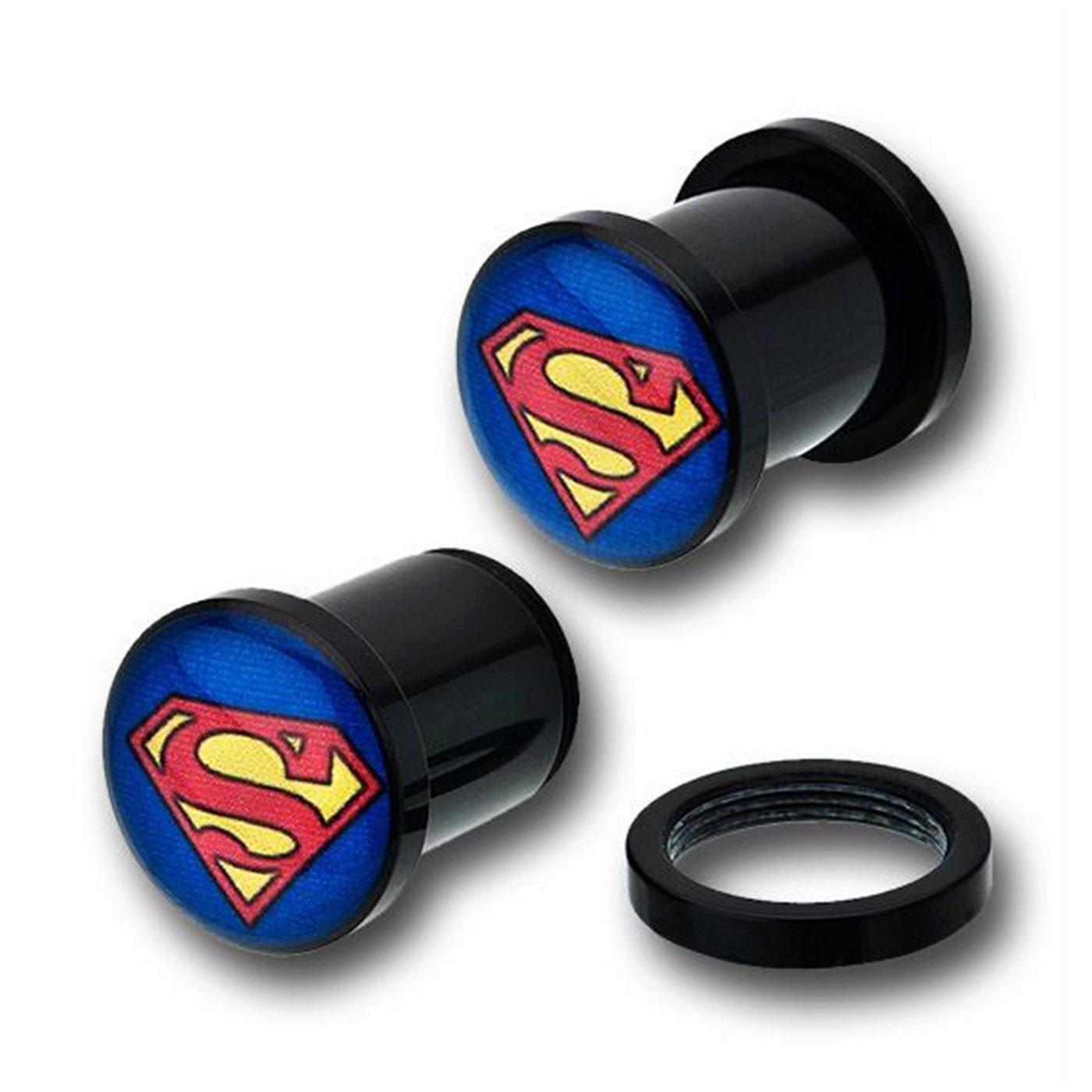 Superman Acrylic Single Flare Plugs