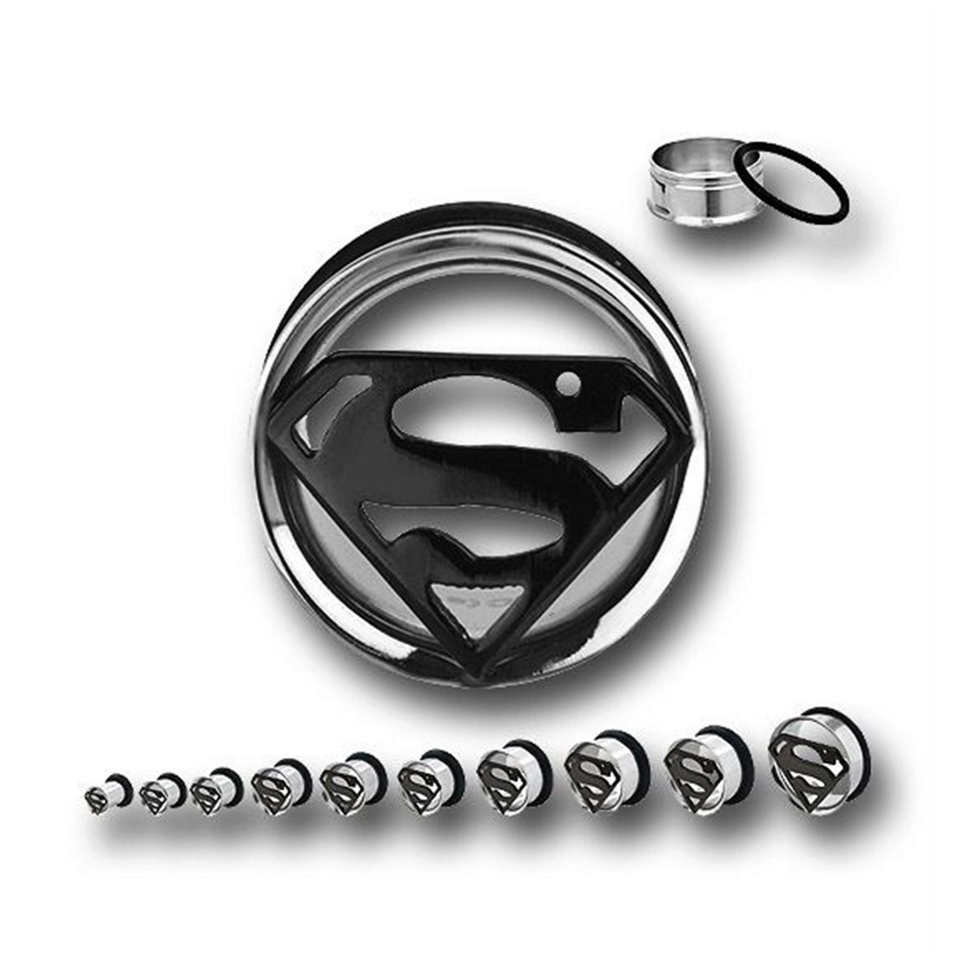 Superman 316L Surgical Steel Tunnel Plugs