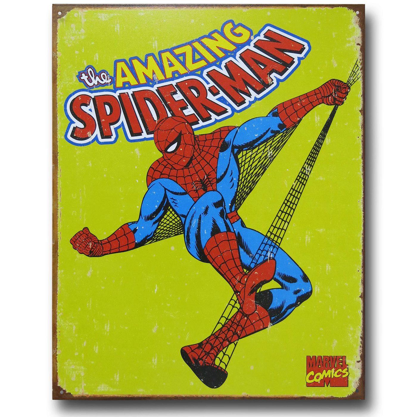 Spider-Man Yellow Vintage Tin Poster Sign