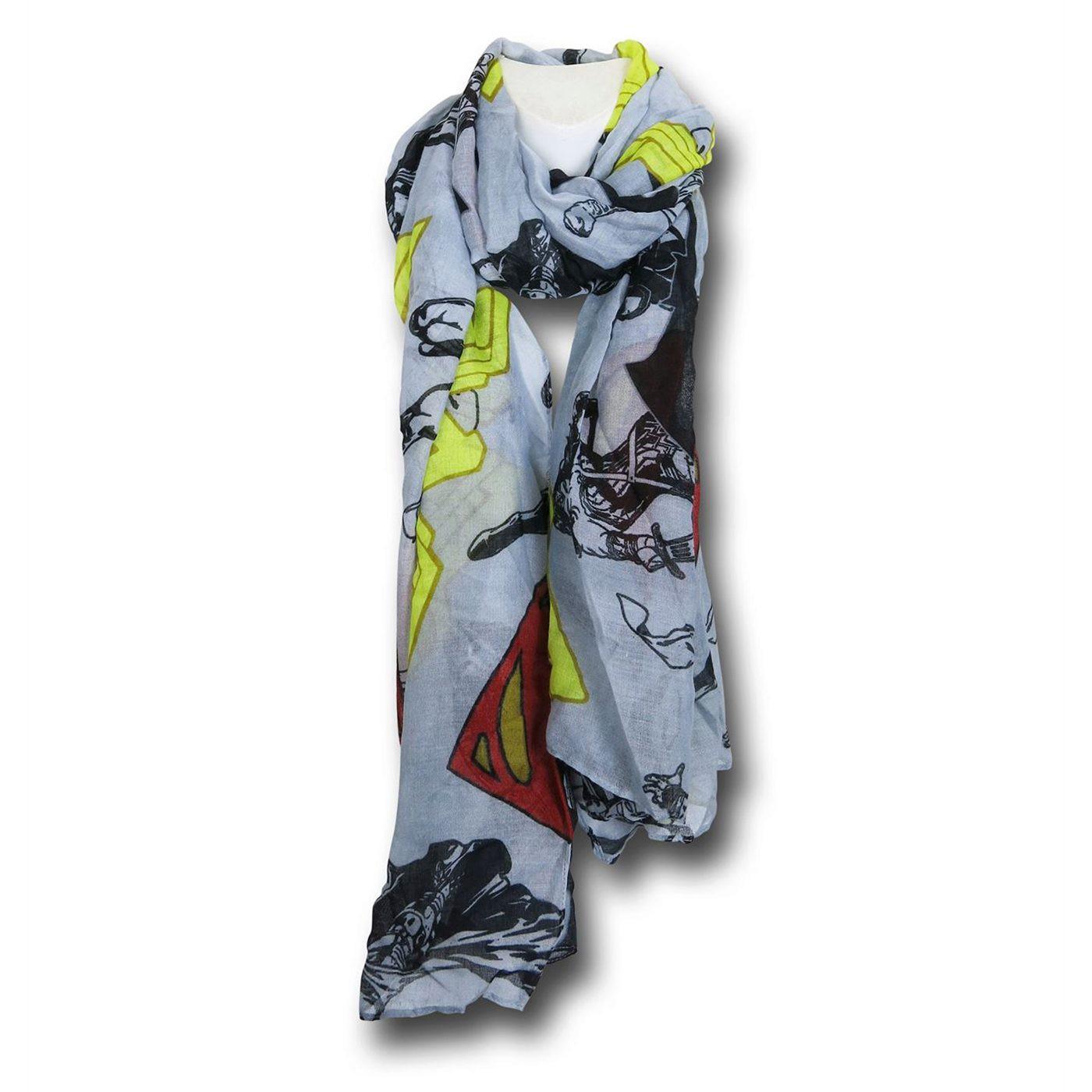 Batman Vs Superman Symbols Women's Scarf