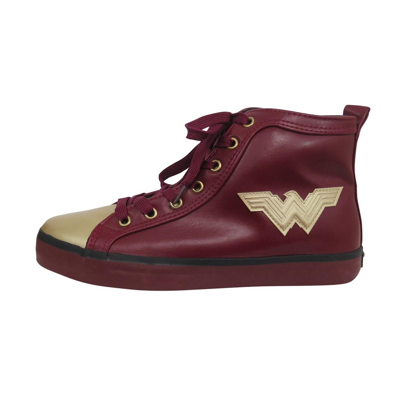 Wonder Woman Logo Red Hightop Sneakers