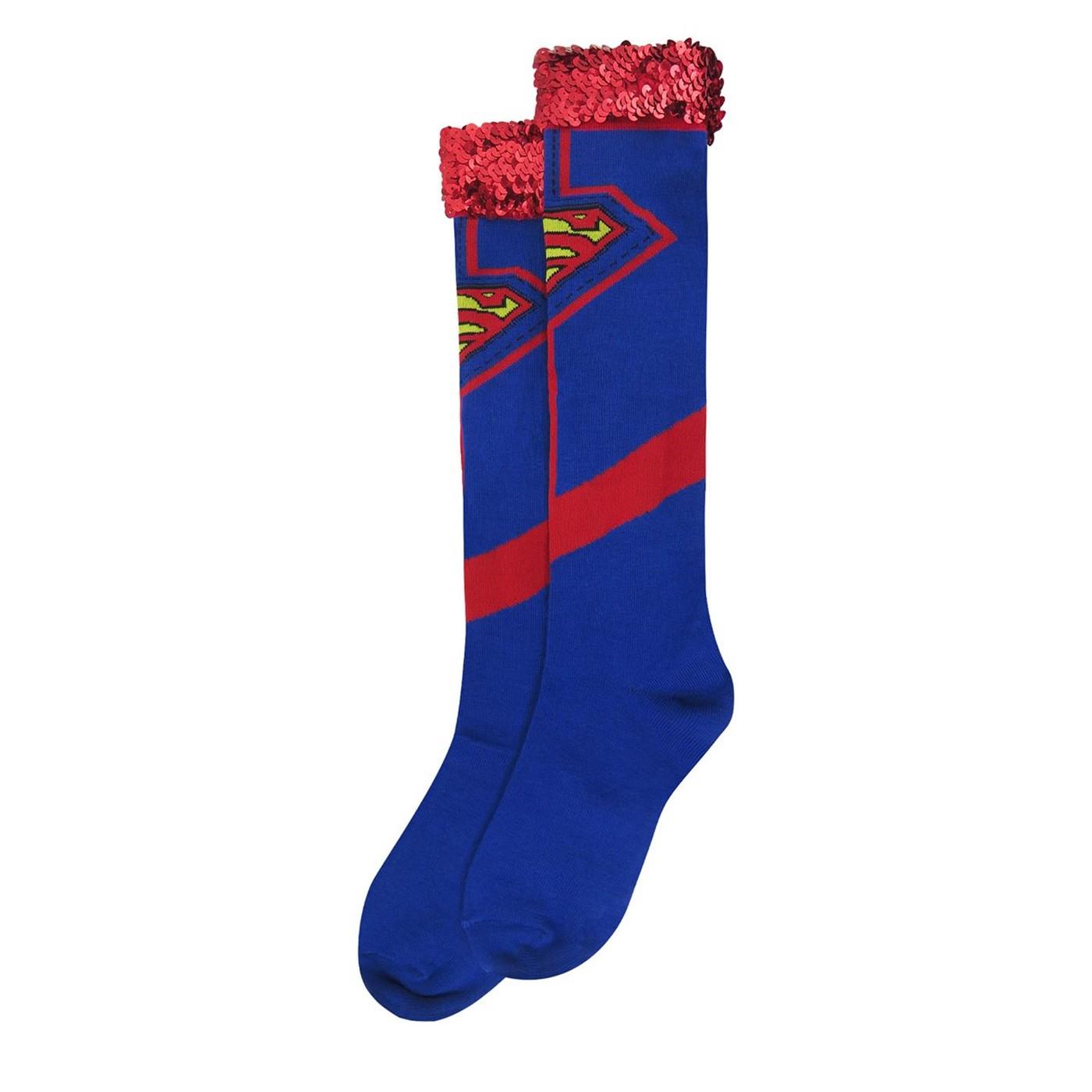 Supergirl Costume Women's Knee High Socks