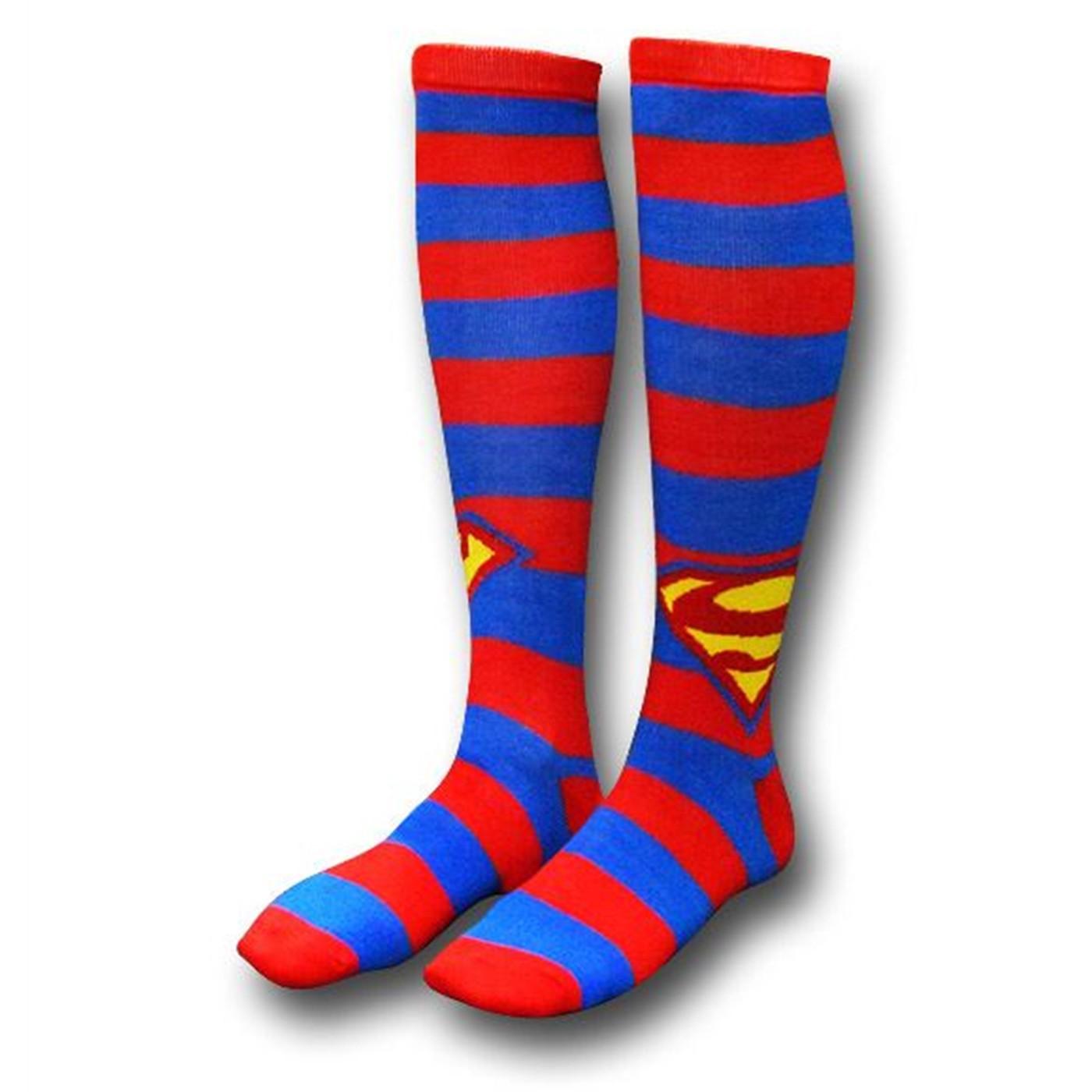 Superman Striped Knee-High Socks