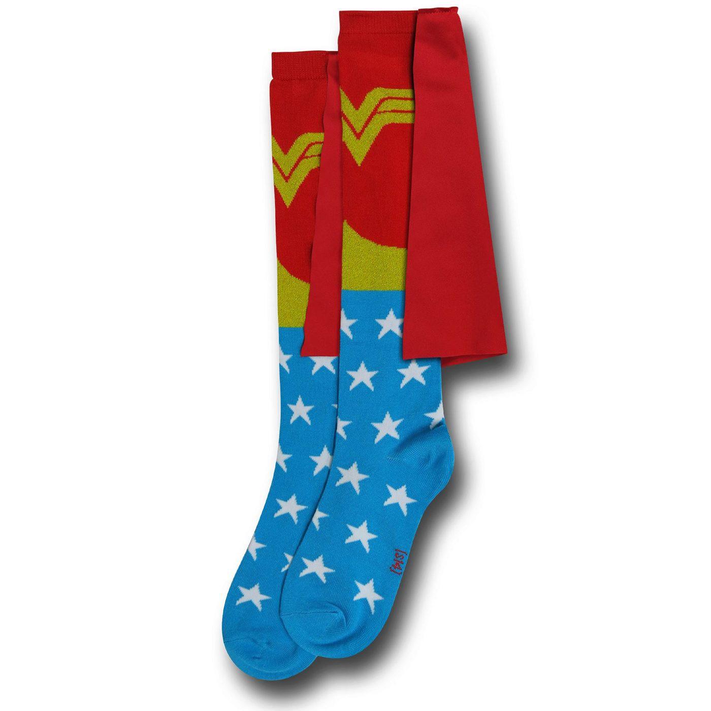 Wonder Woman Women's Knee-High Socks w/Capes