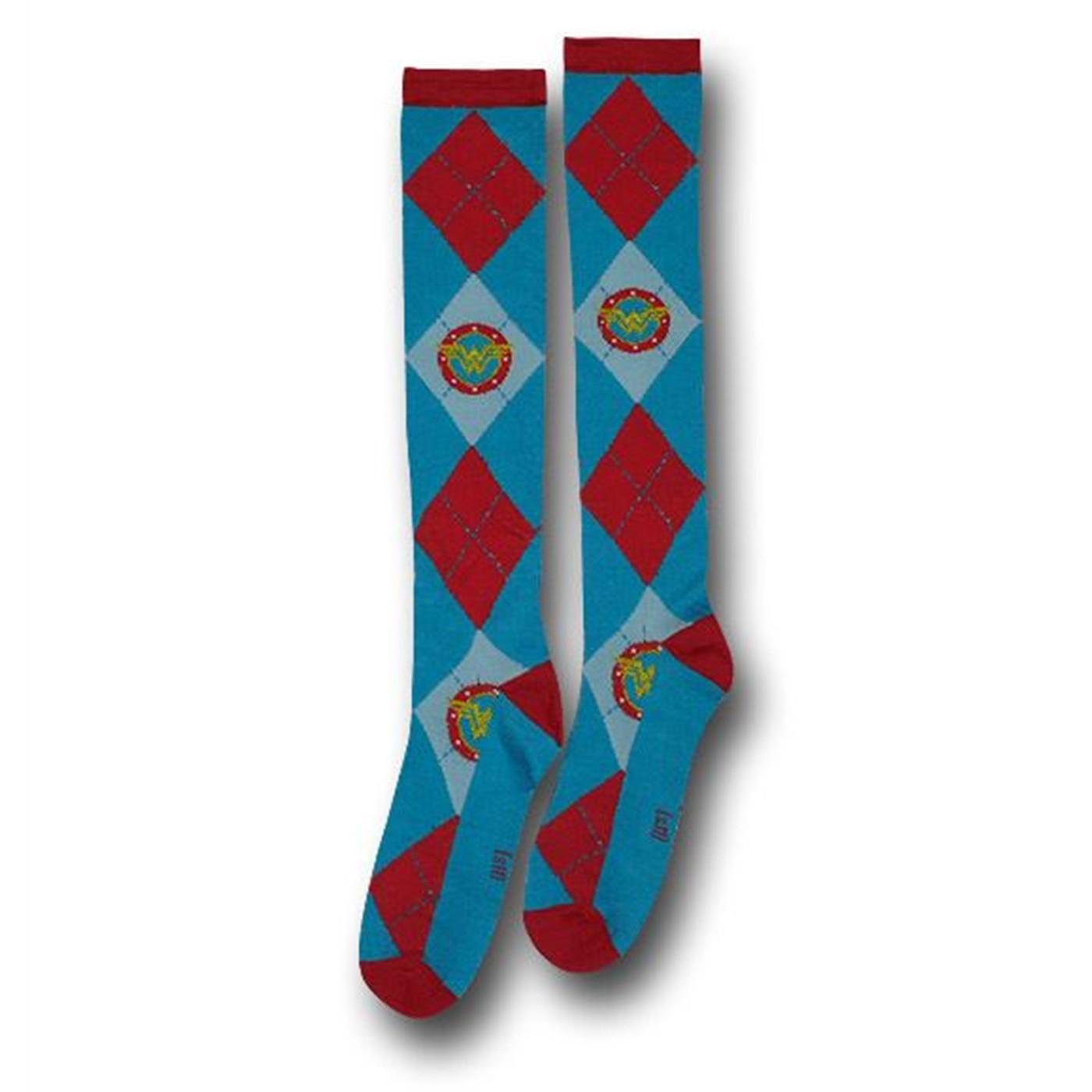 Wonder Woman Socks Argyle Jr Womens Knee-Highs