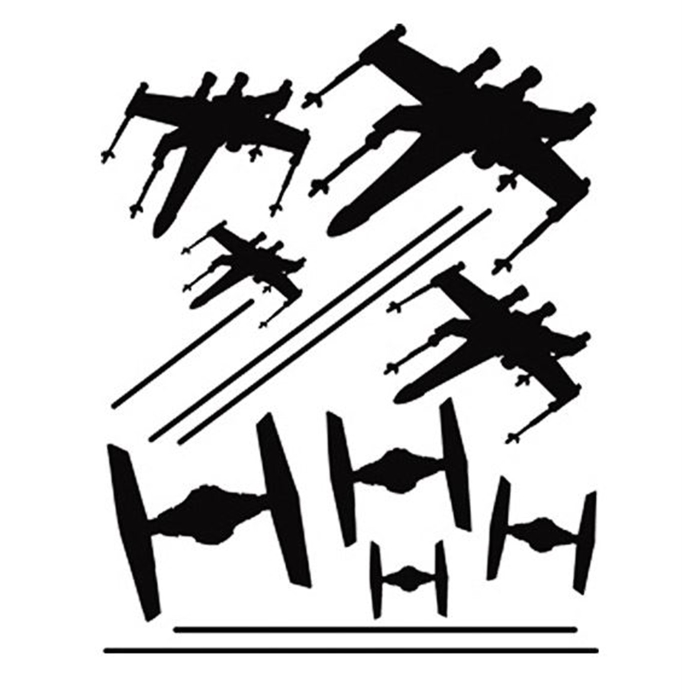 Star Wars Mens Tshirt Dogfight Tie Fighter X-wing Official Sublimation White