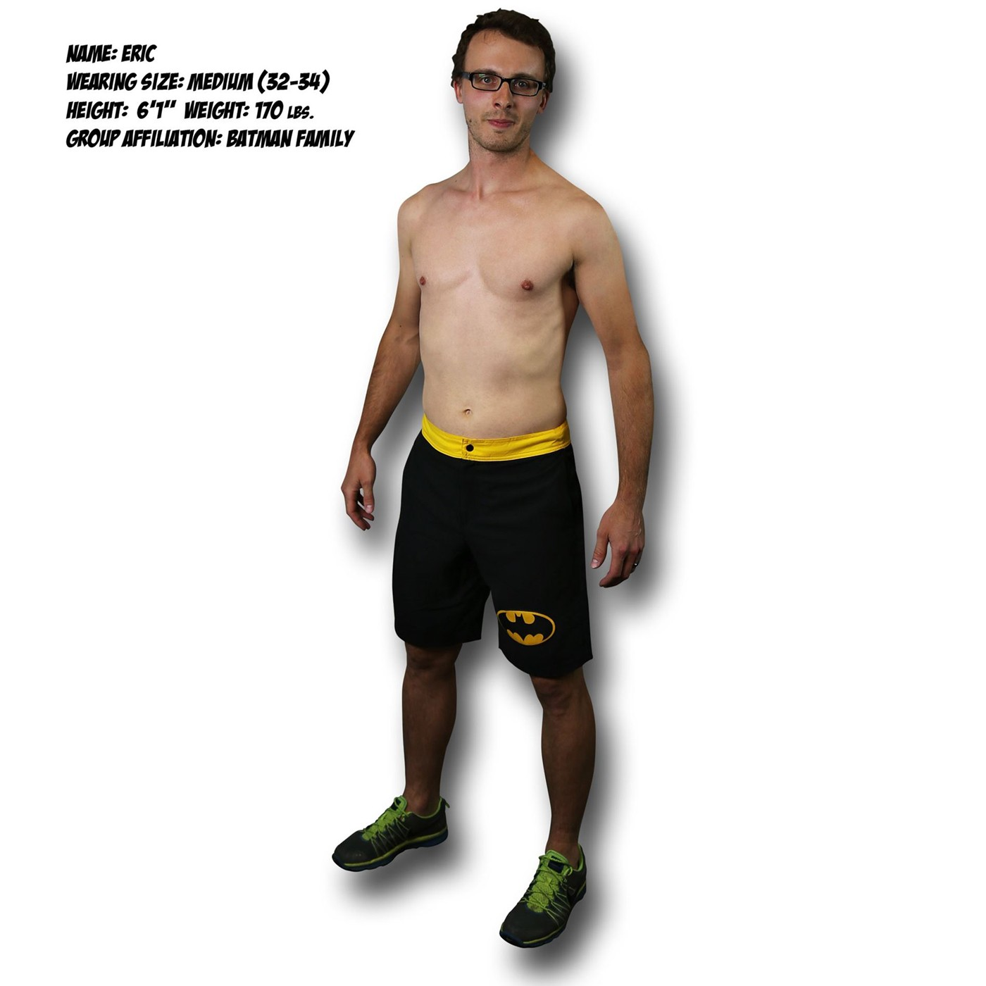 Batman Symbol Black Board Shorts w/ Rear Pocket