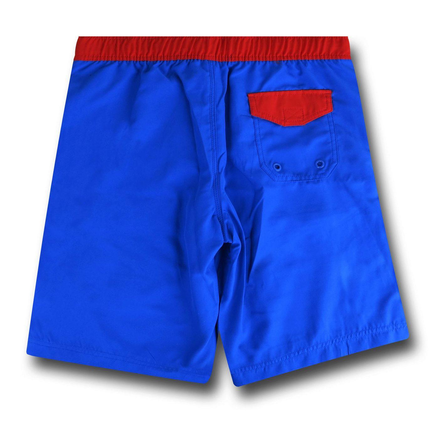 Superman Symbol Blue Board Shorts w/ Rear Pocket