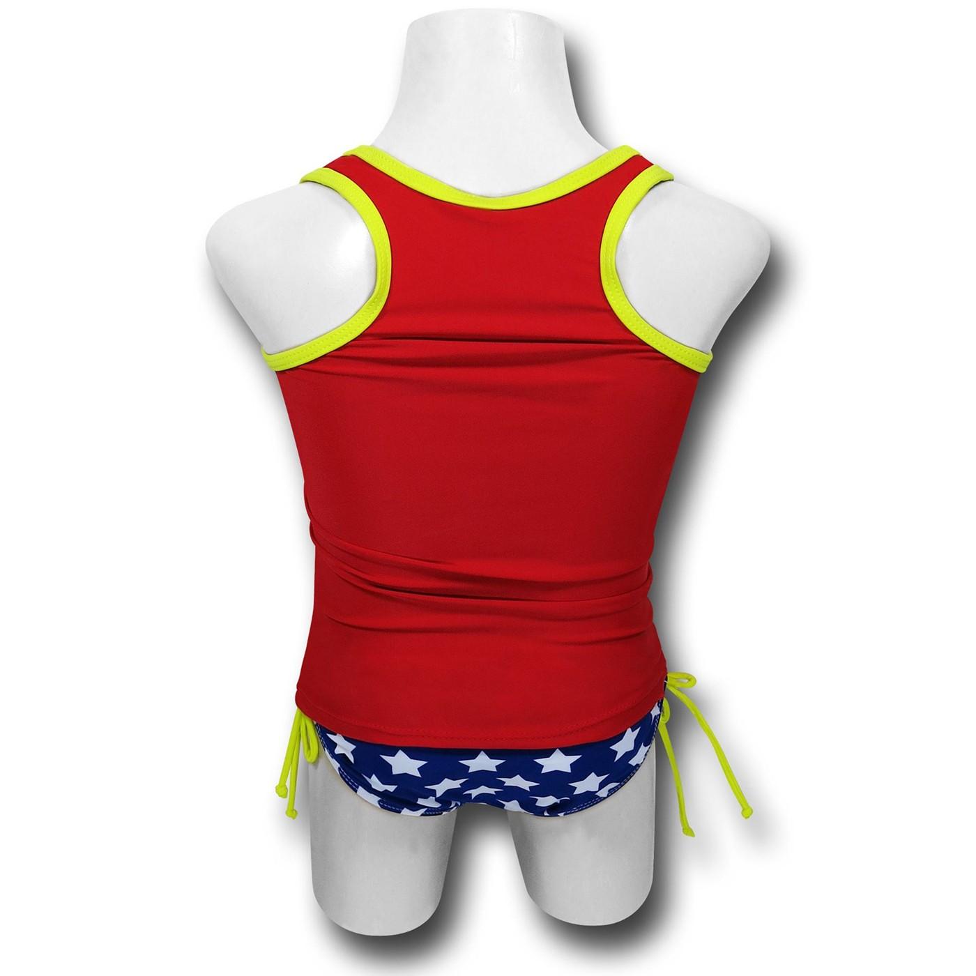 Wonder Woman Shield Tank Girls 2pc Swimsuit