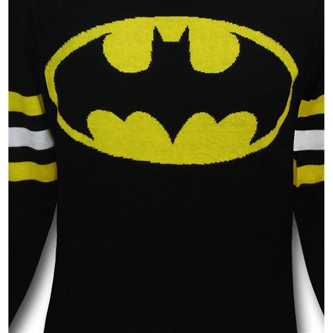 Batman Symbol Black Sweater w/Striped Arms