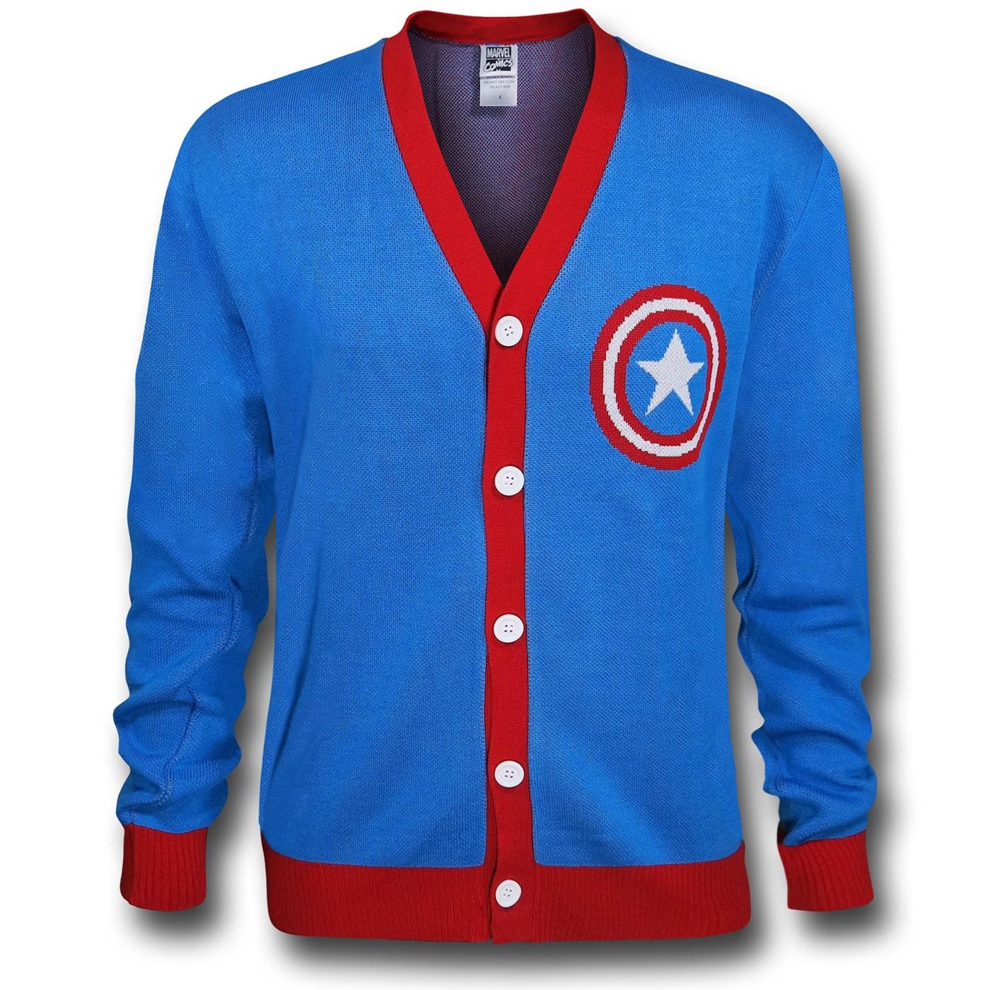 Captain America Shield Symbol Blue Cardigan