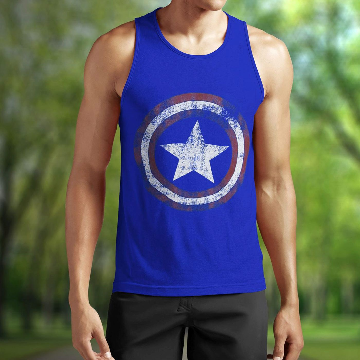 Captain America Distressed Shield Royal Blue Tank Top