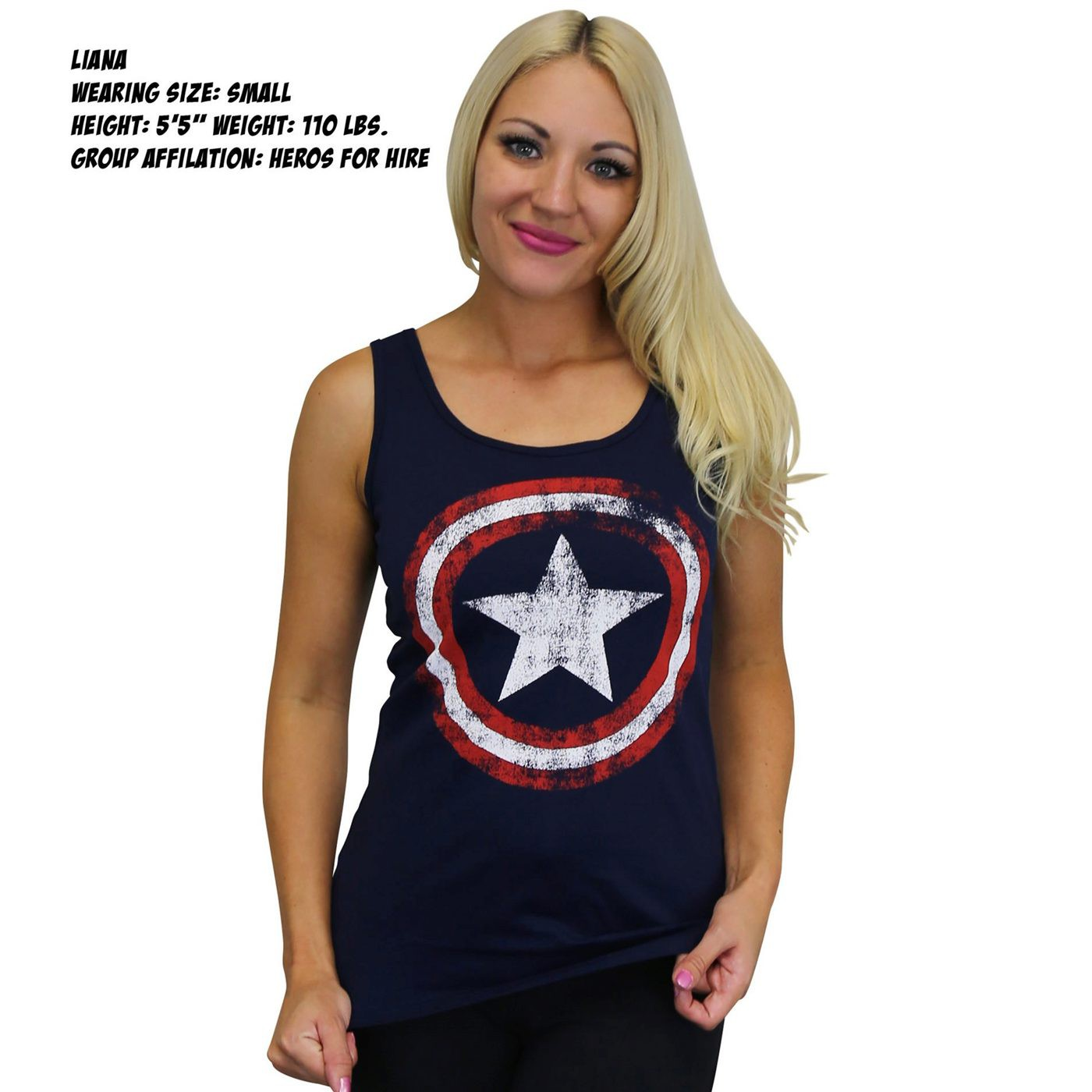 Captain America Distressed Navy Women's Tank Top