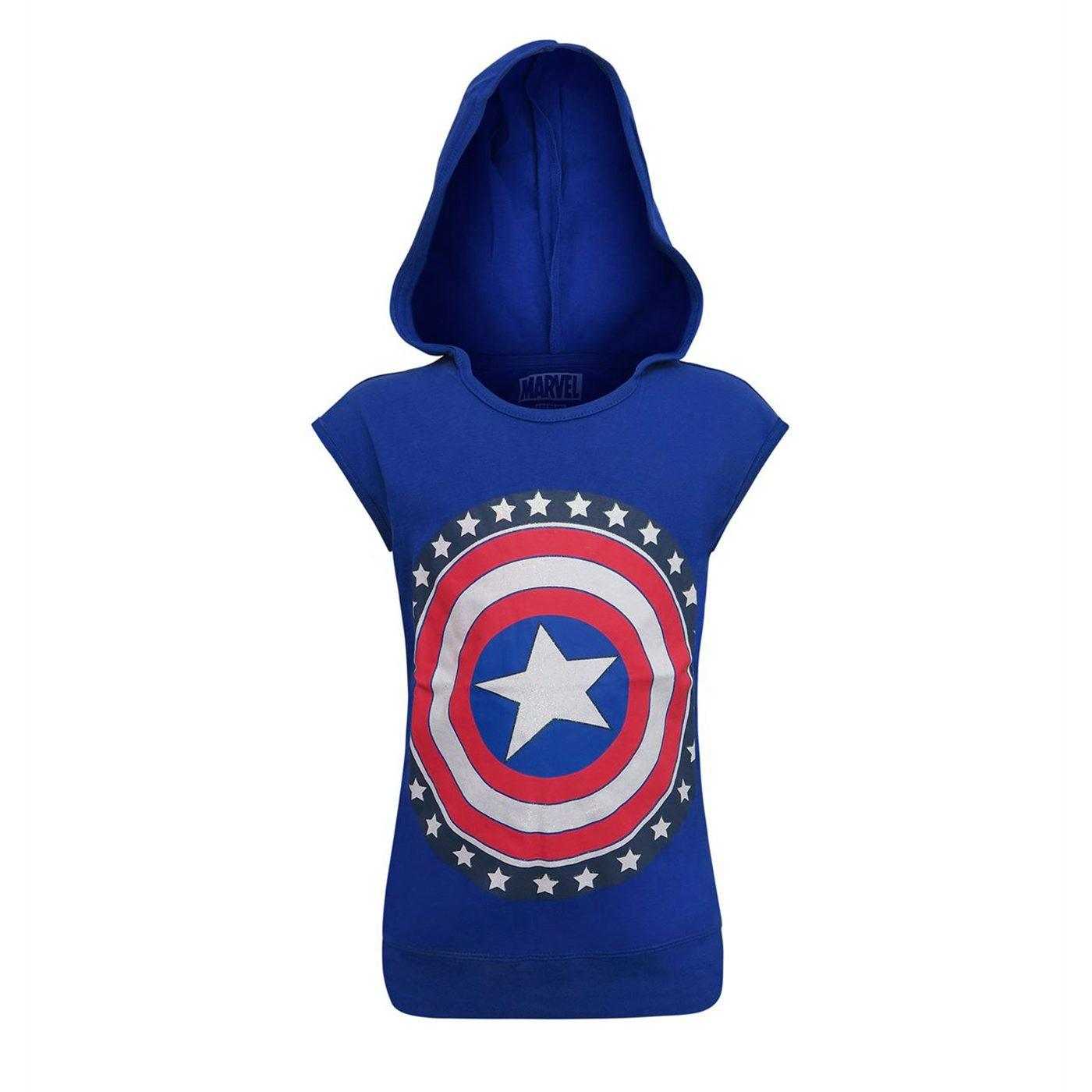 Captain America Shield Hooded Girls Tank Top