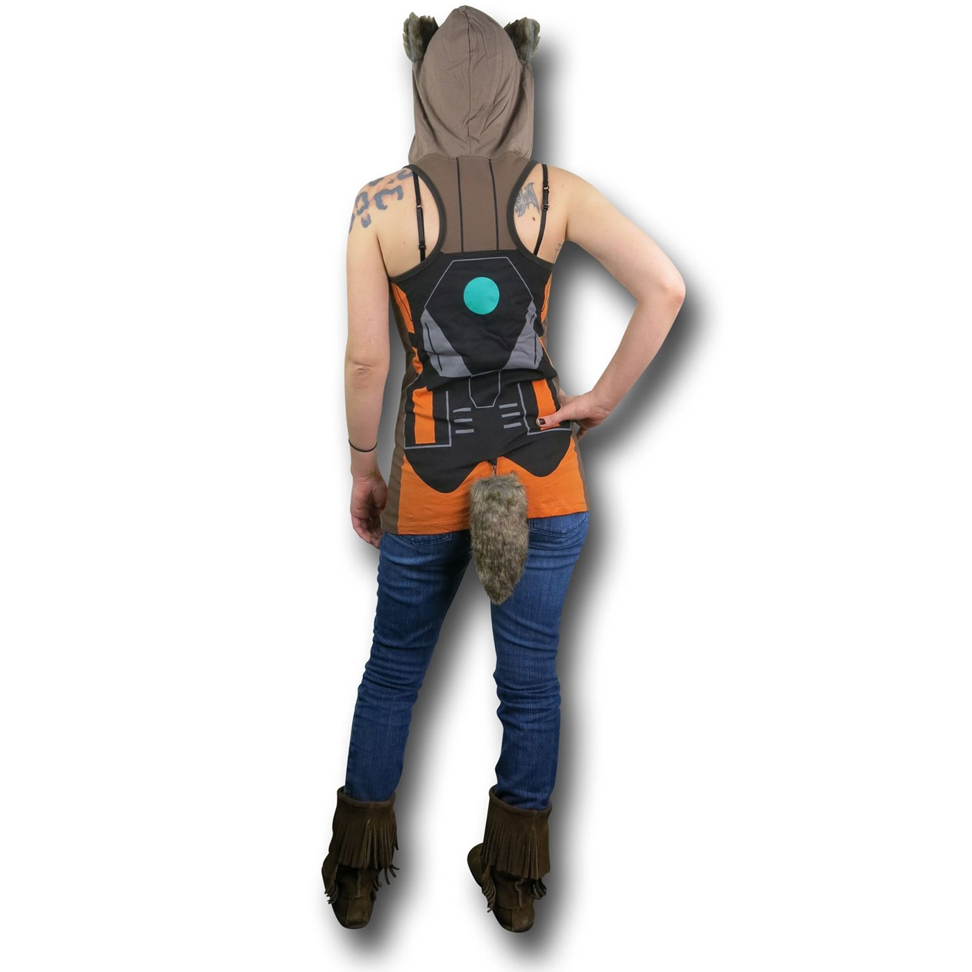 GOTG Rocket Raccoon Hooded Women's Tank Top w/ Tail