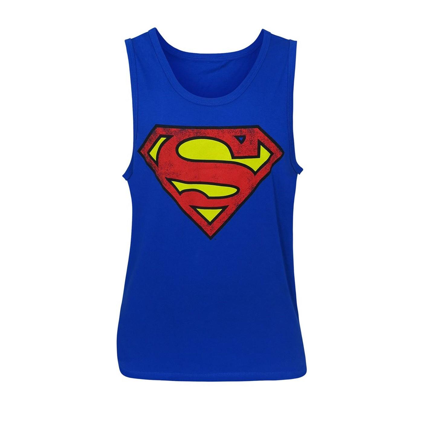 Superman Royal Blue Distressed Symbol Tank Top