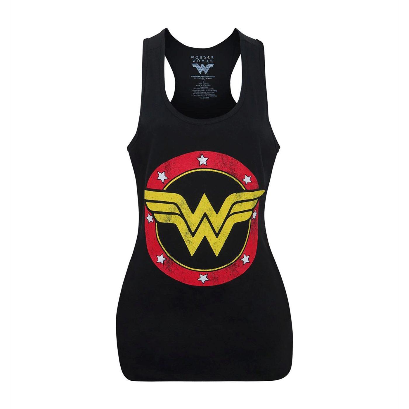 Wonder Woman Logo Women's Black Racerback Tank Top