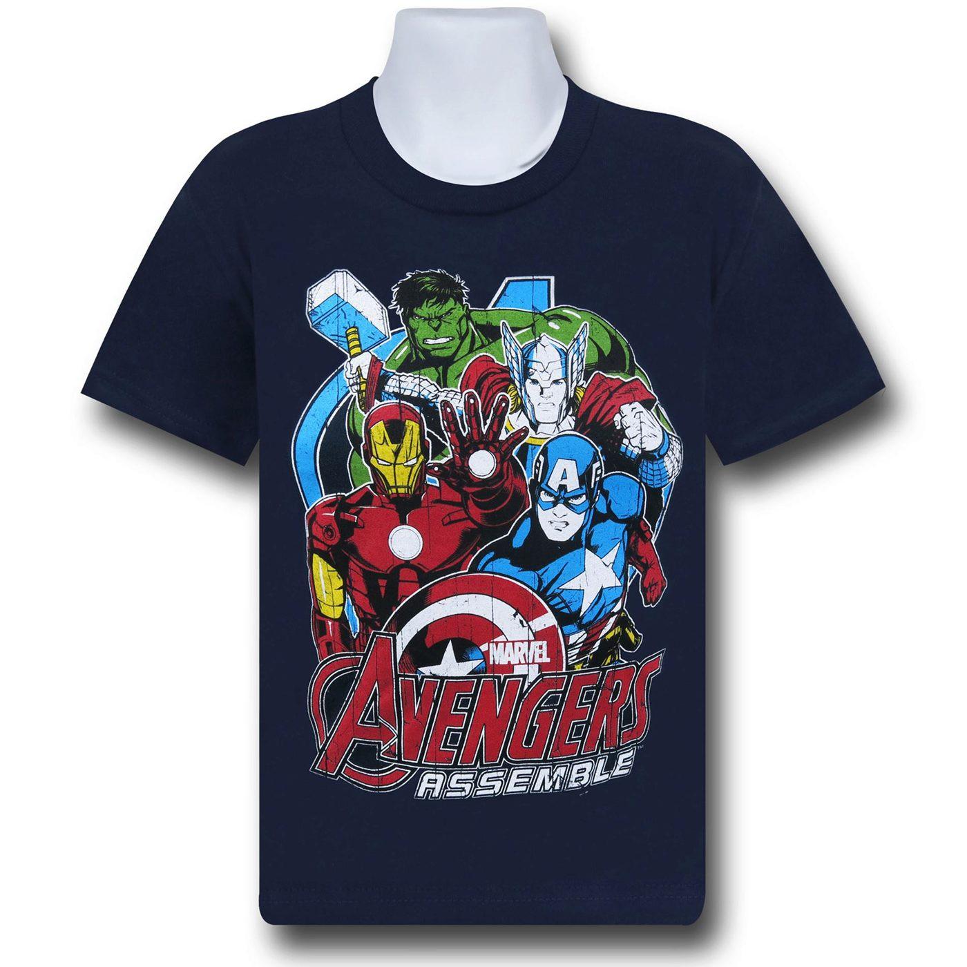 Avengers Assemble Group Blue Kids T-Shirt