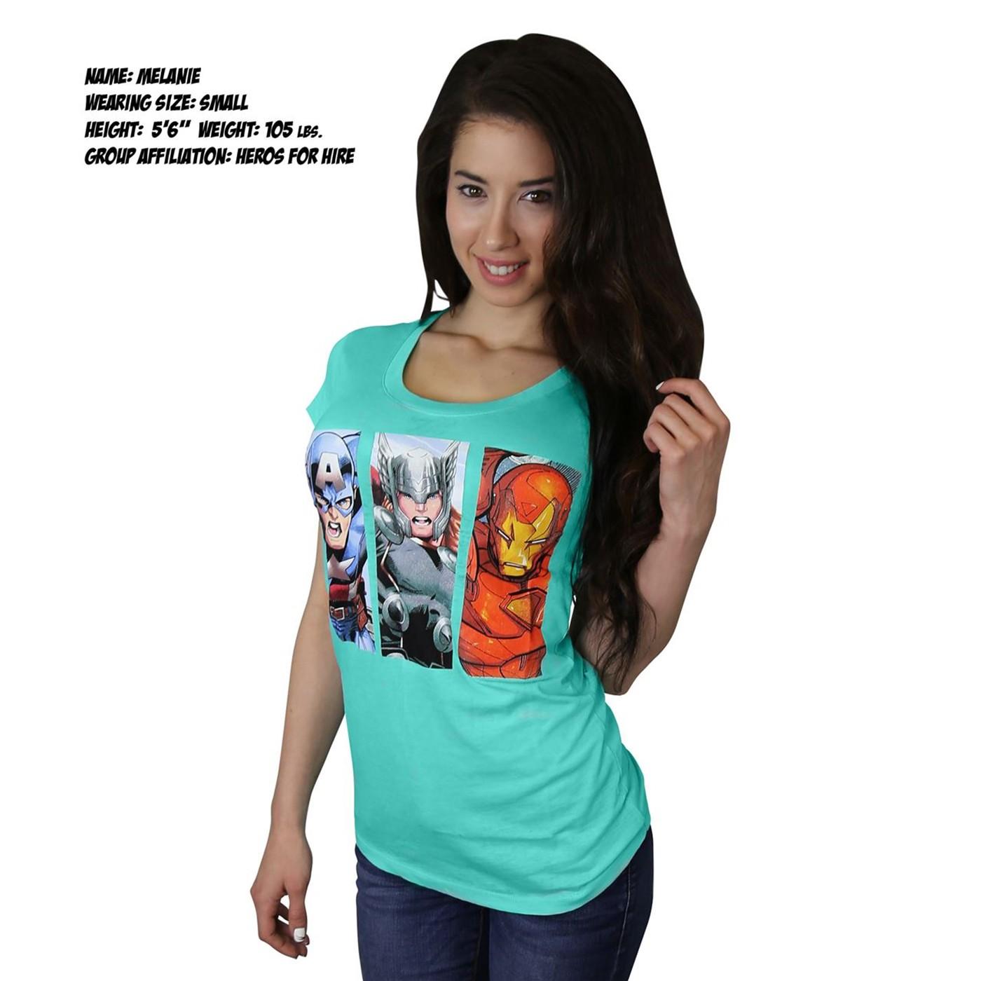 Avengers Three Box Women's Burnout T-Shirt