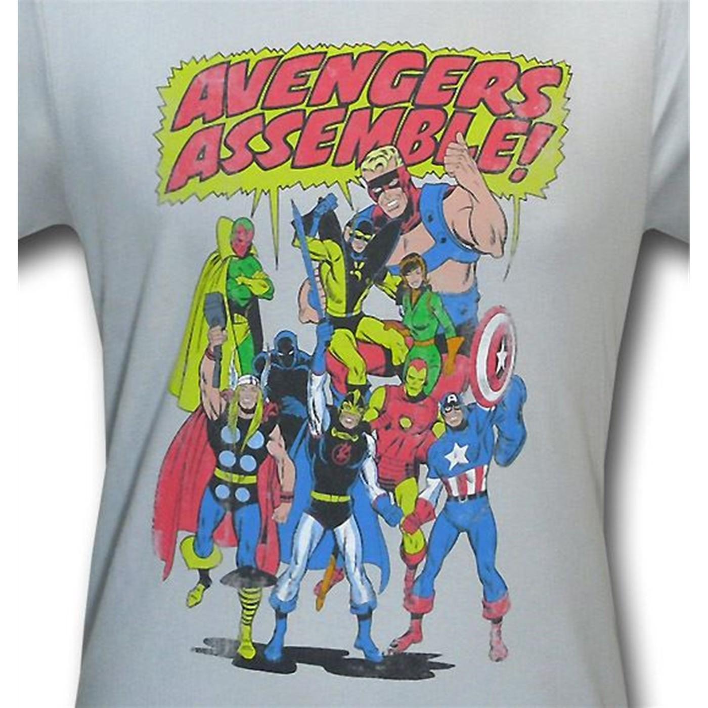 Avengers Assemble Distressed Silver 30 Single T-Shirt