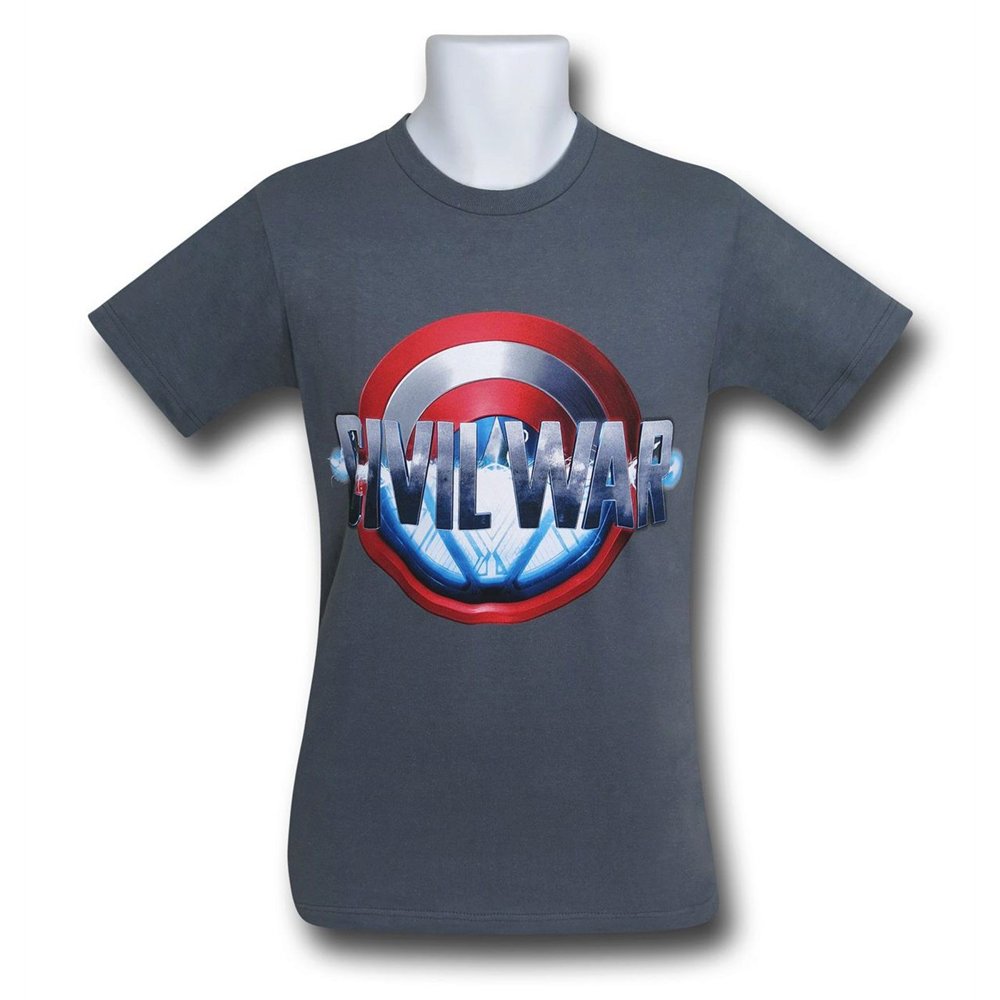 Captain America Civil War Split Logo on Charcoal T-Shirt