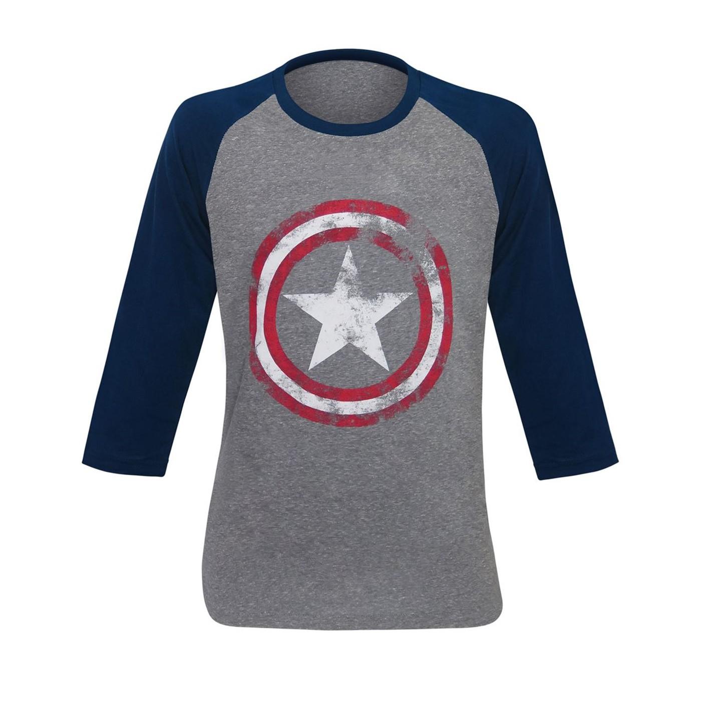 Captain America Gray Distressed Shield Baseball T-Shirt