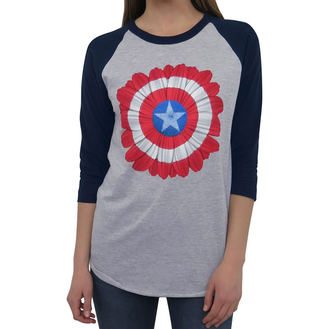 Captain America Flower Women's Baseball T-Shirt