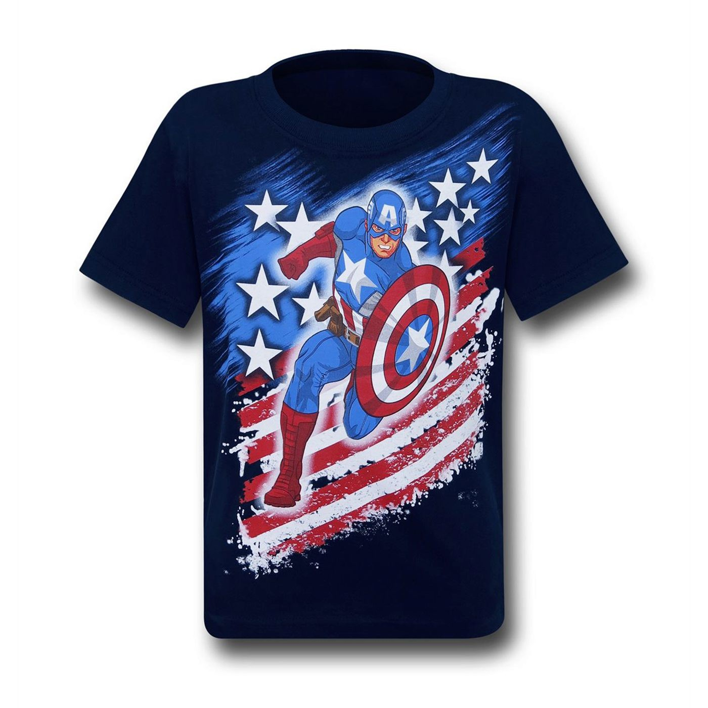 Captain America Running Stars & Stripes Kids T-Shirt