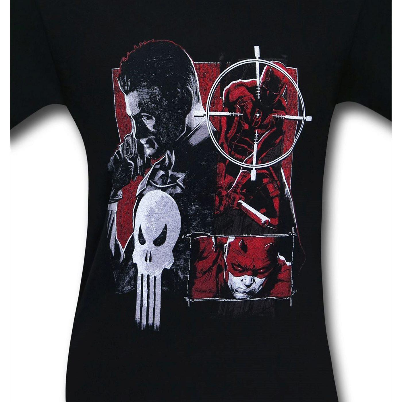 Daredevil Vs Punisher Square Off Men's T-Shirt