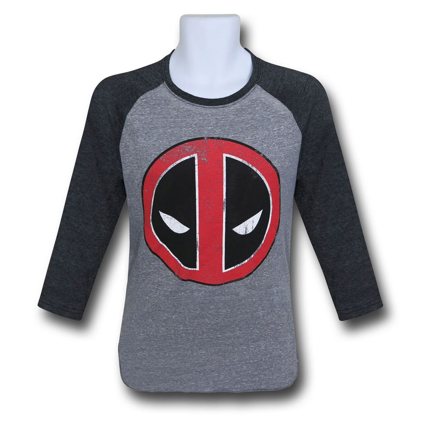 Deadpool Distressed Symbol Baseball T-Shirt