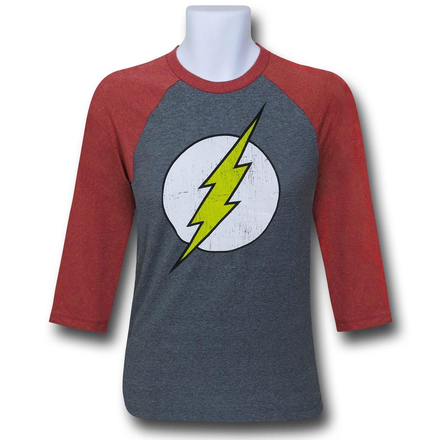 Flash Distressed Symbol Baseball T-Shirt