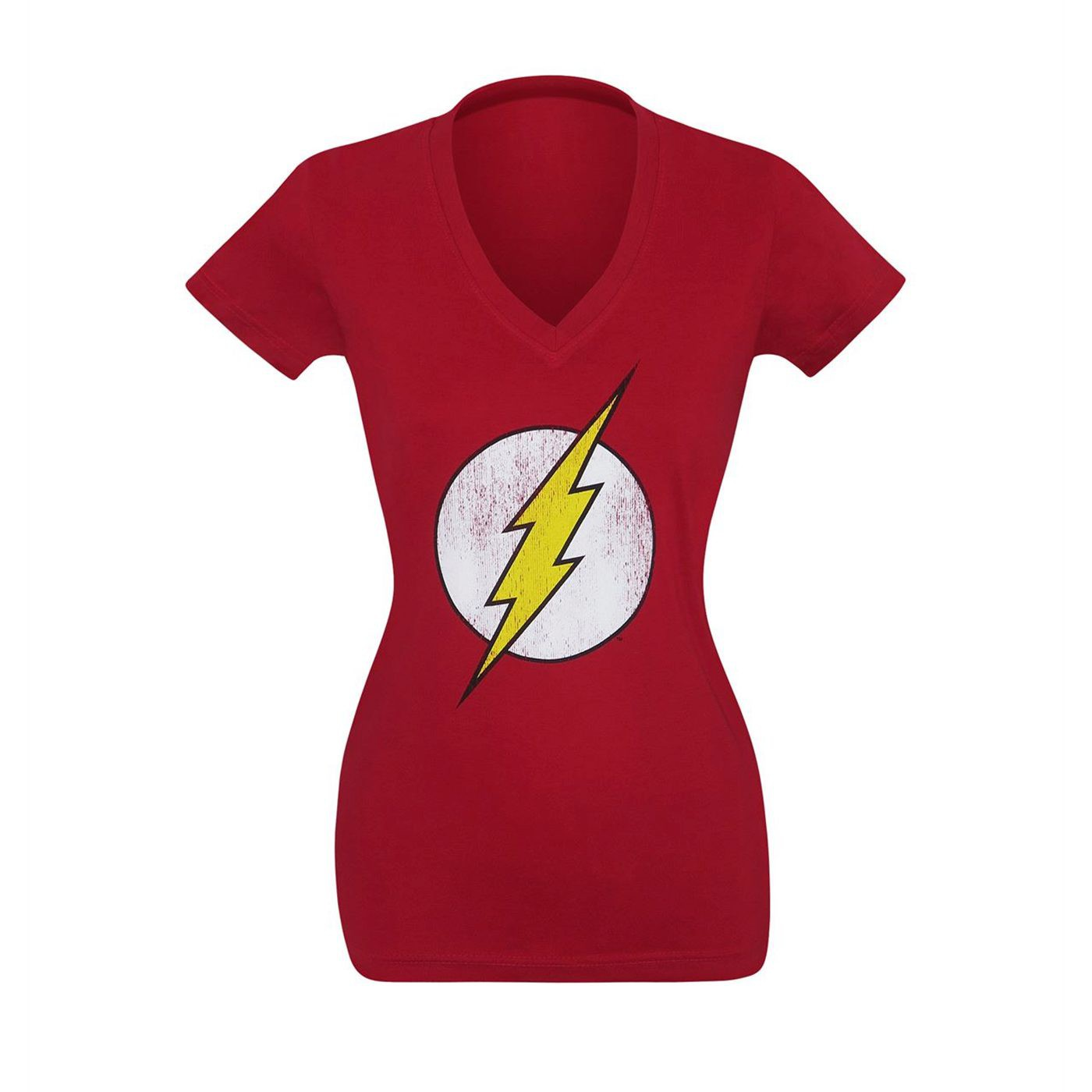 Flash Symbol Distressed Women's V-Neck T-Shirt