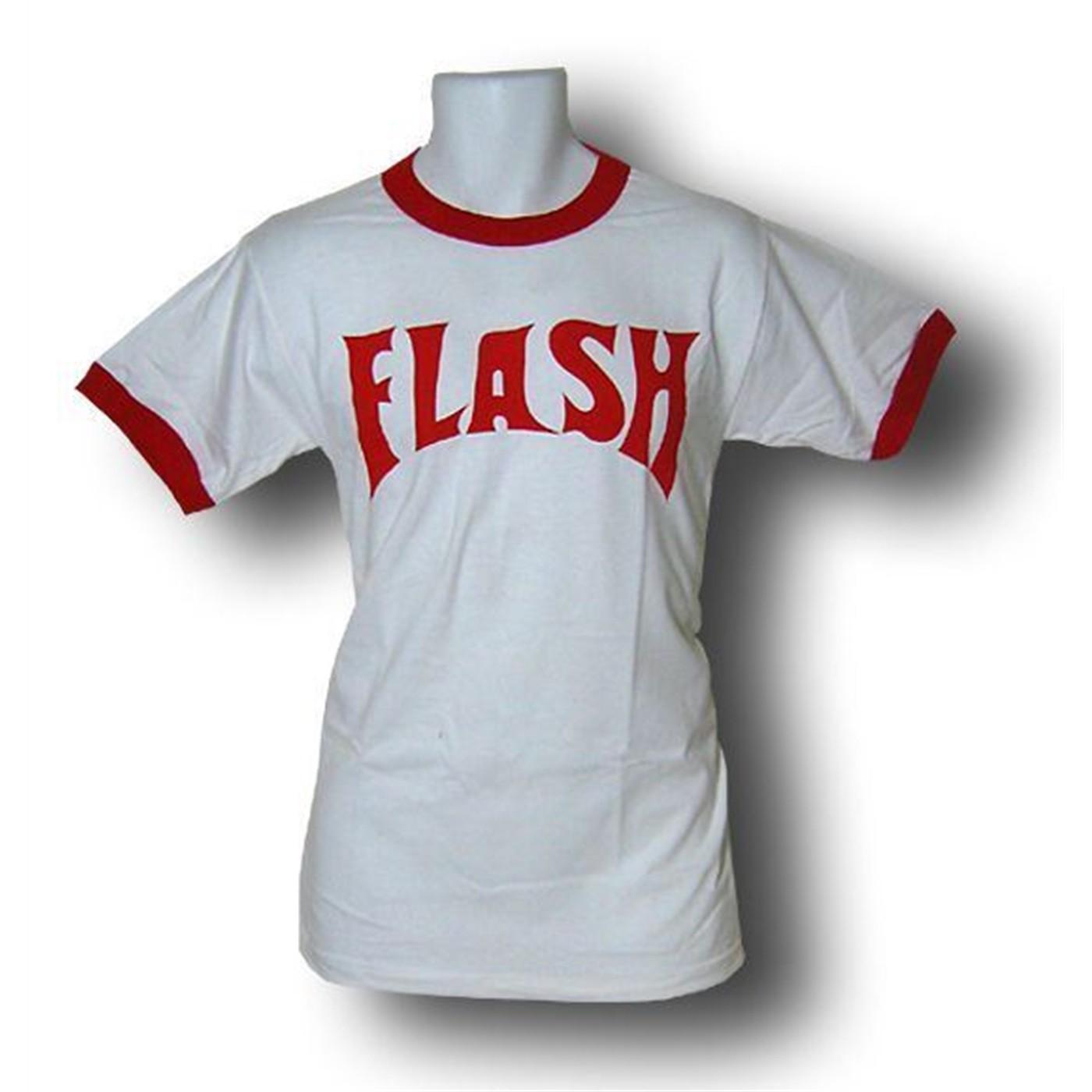 Flash Gordon Logo White Ringer T-Shirt