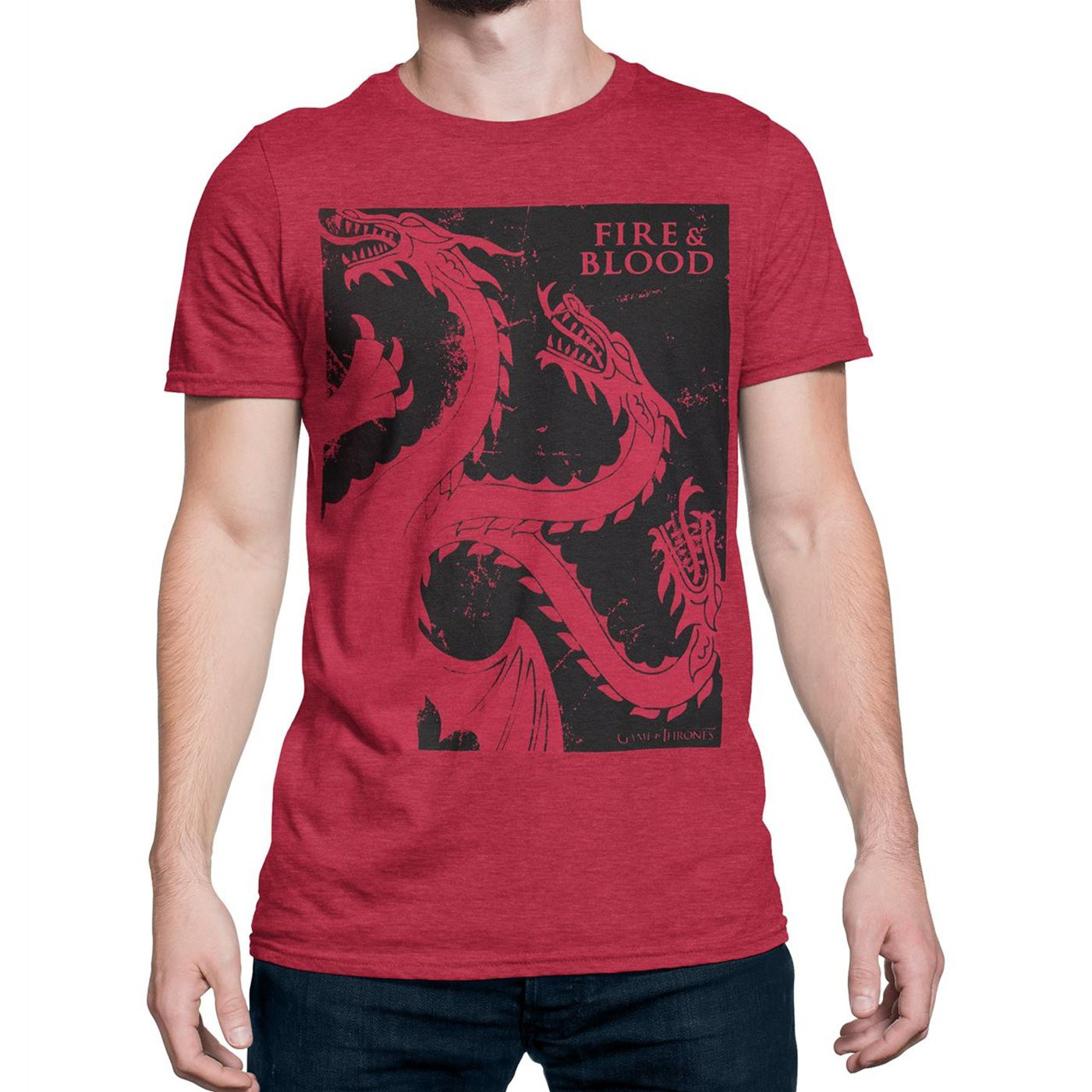 Game of Thrones Distressed Fire & Blood Men's T-Shirt