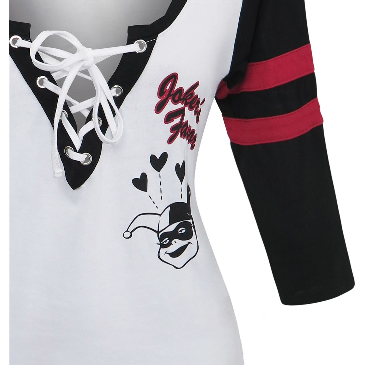 Harley Quinn Crossed Deep Scoop Women's Raglan