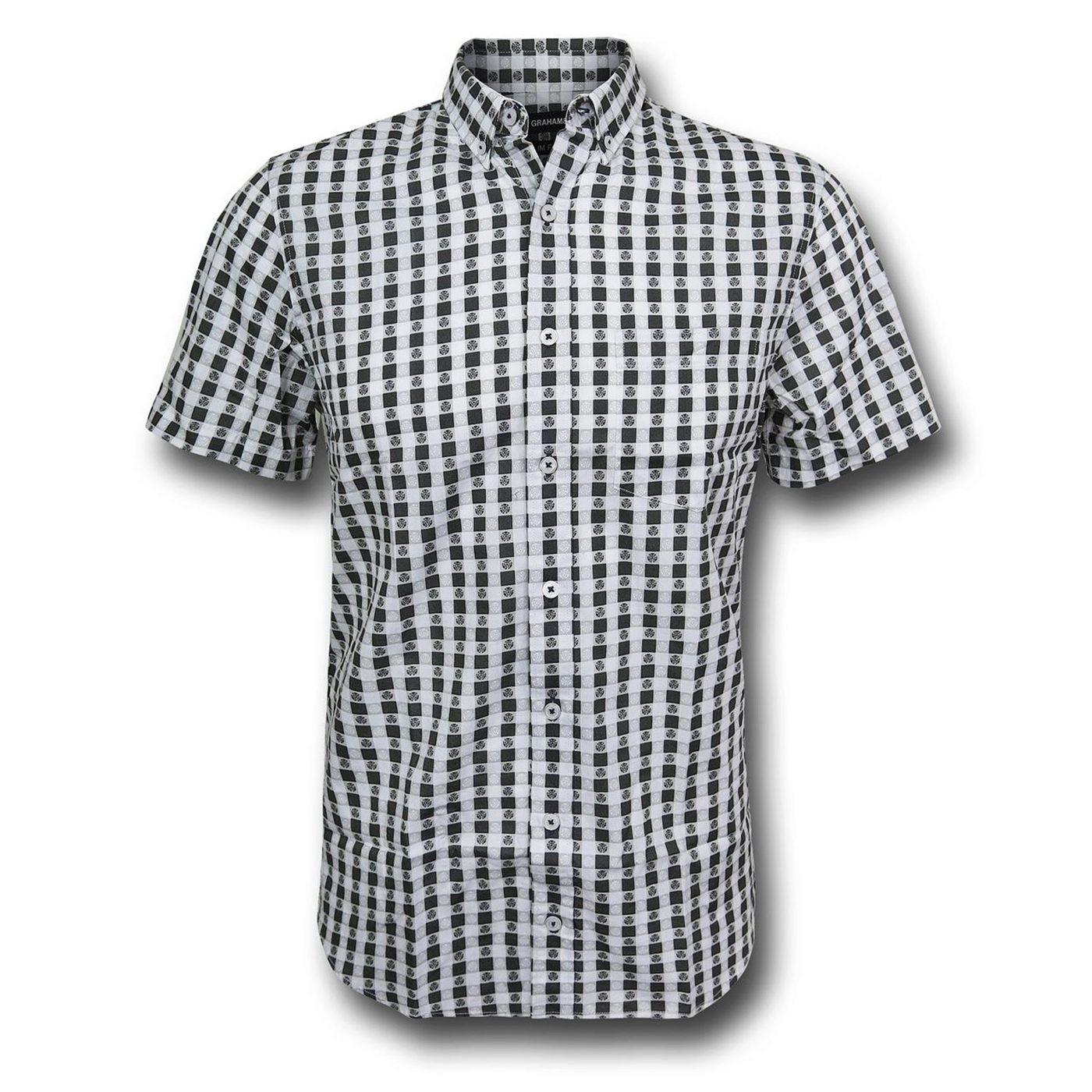 Iron Man Plaid Arc Symbol Men's Button Down Shirt