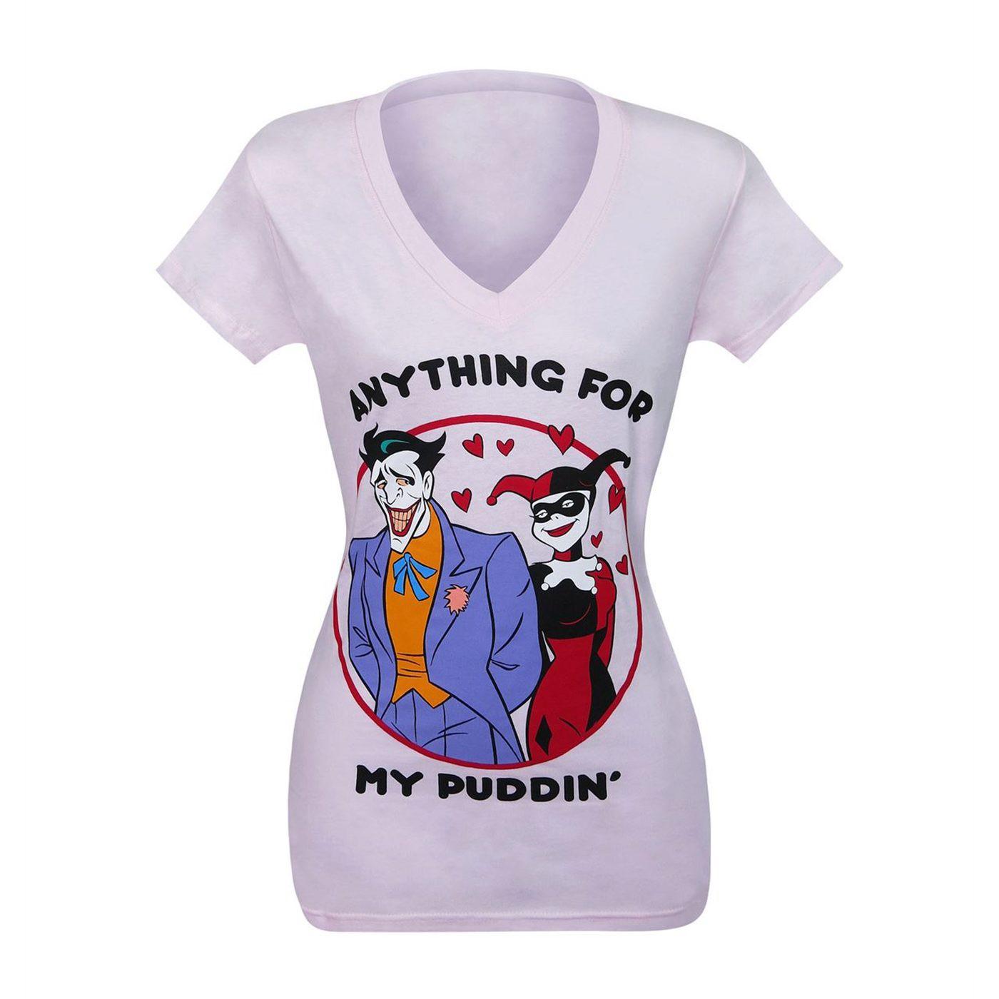 Joker & Harley My Puddin' Women's V-Neck T-Shirt