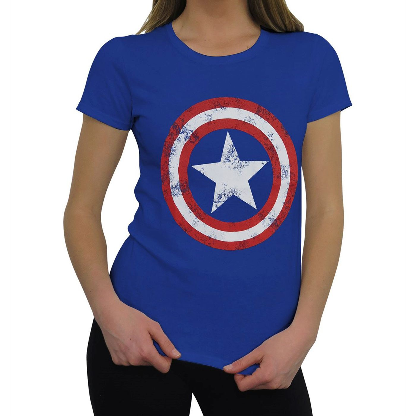 Captain America Women's Distressed Shield Royal T-Shirt