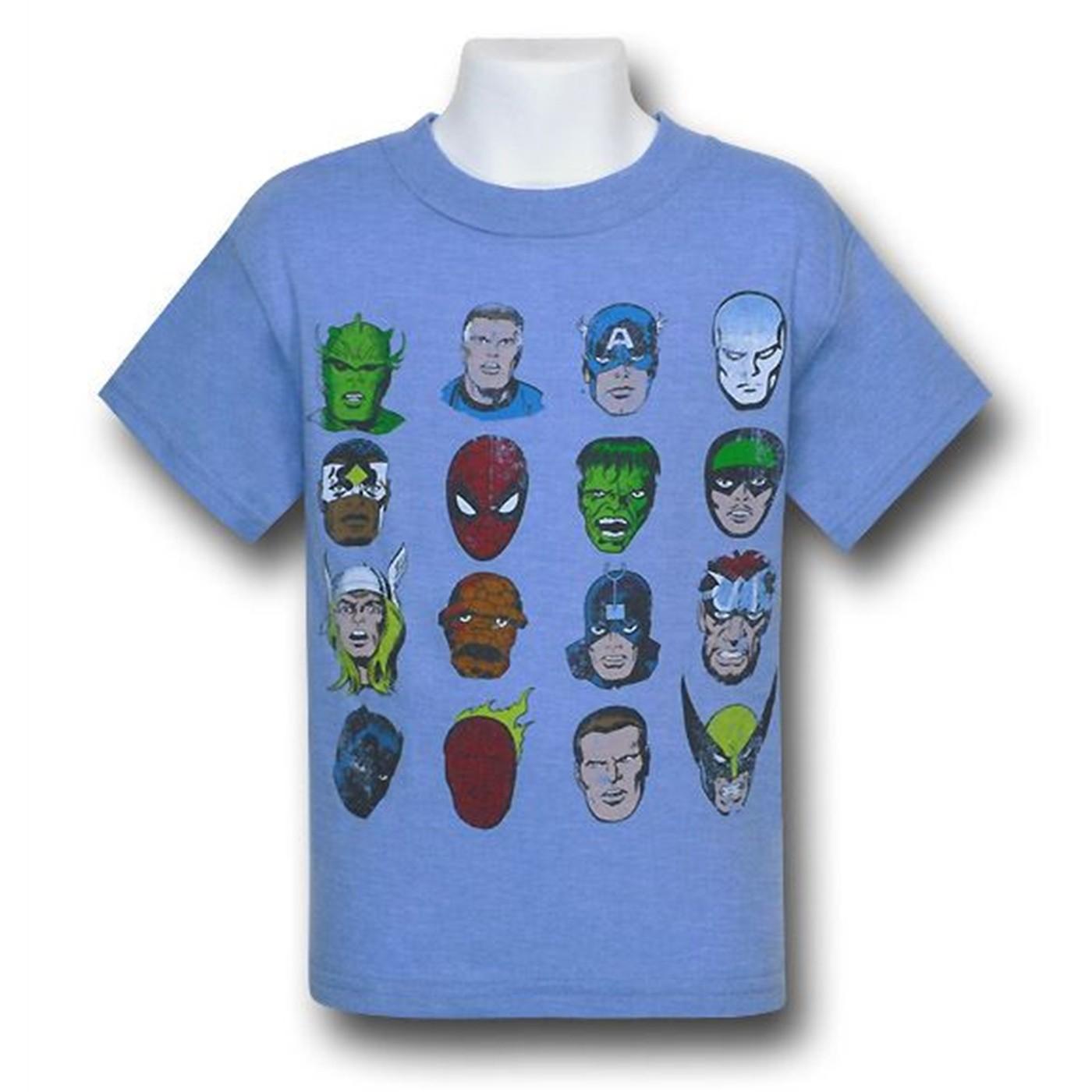 Marvel Superhero Heads Kids 30 Single T-Shirt