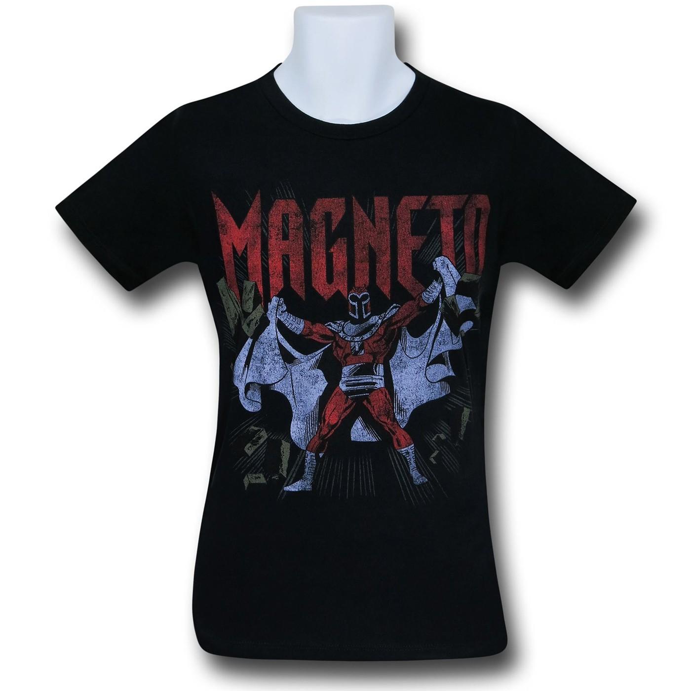 Magneto Burst Distressed Black T-Shirt